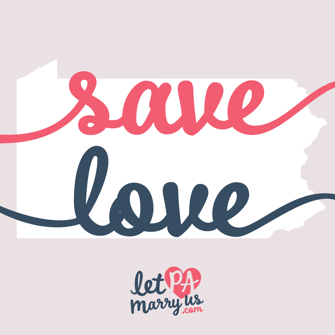 Save Love Graphic with the shape of Pennsylvania to share on social media platforms