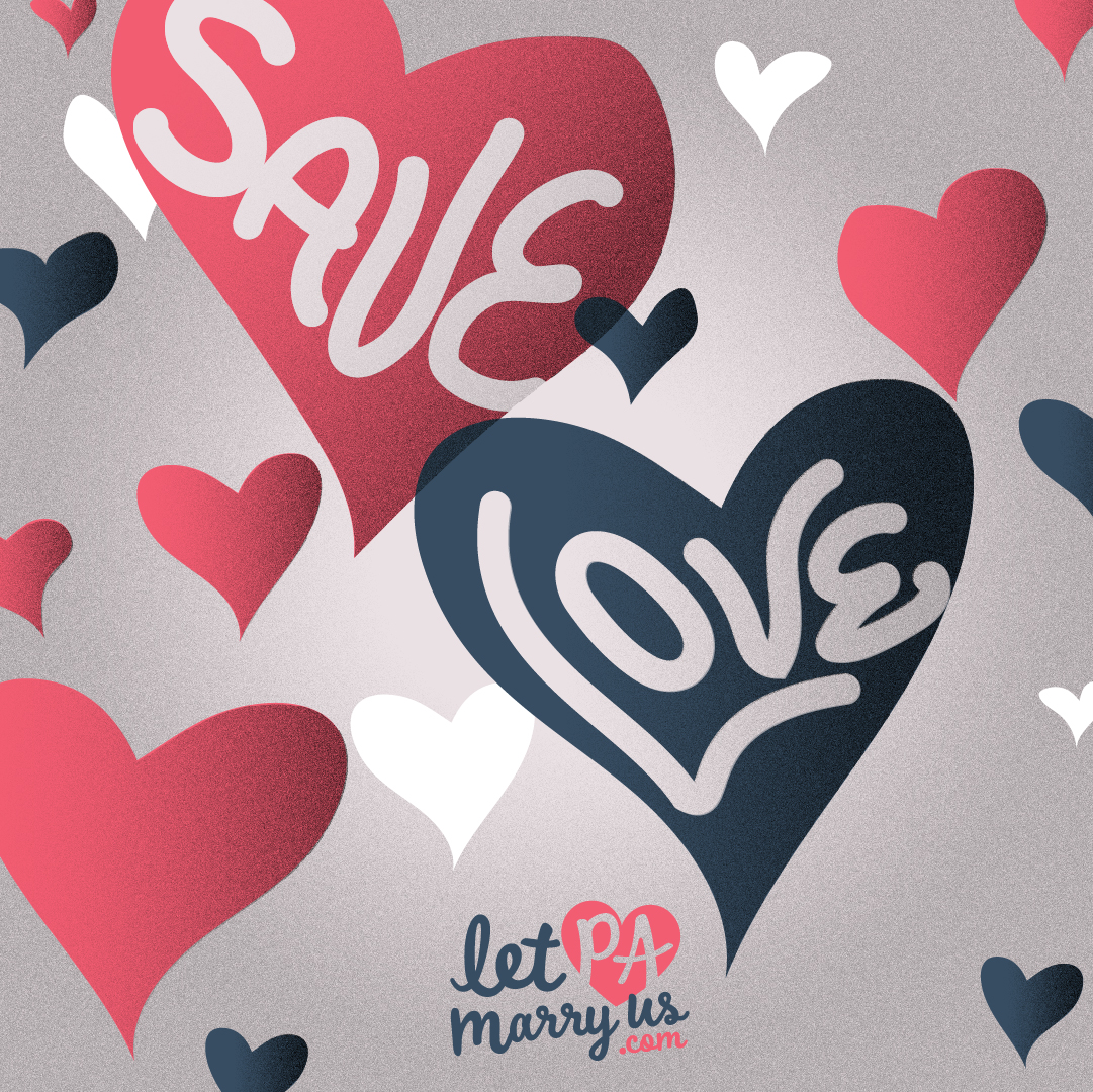 Save Love Graphic with hearts to share on social media platforms